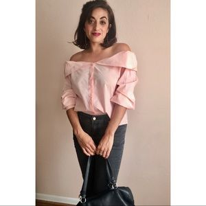 LULU's | Blush Pink Button-Up Off-the-Shou…